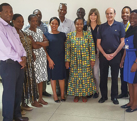 Dr. Jeffrey M. Perlman and some of the research team members in Tanzania