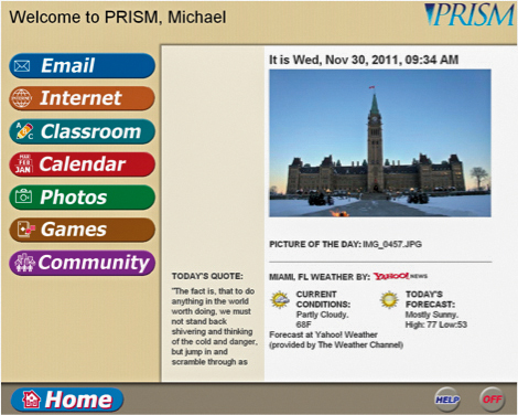 PRISM homepage screenshot