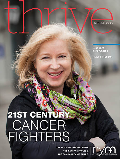 Thrive Magazine Winter 2016 Cover: 21st Century Cancer Fighters. Image shows a woman in a colorful scarf smiling.