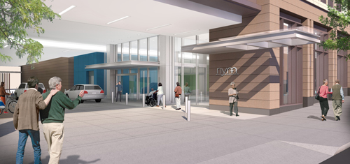 The Center for Community Health Sixth Street Entrance (rendering).