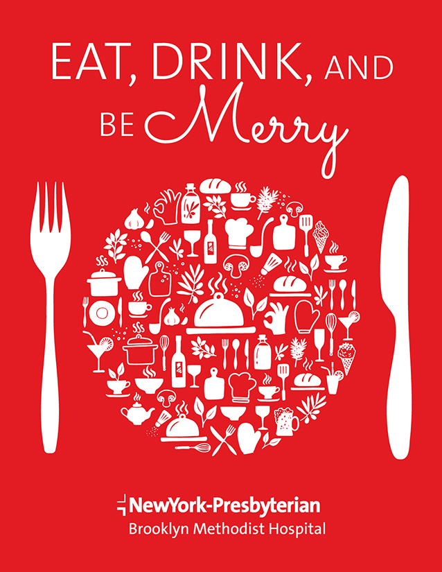 Red Stocking Soirée 2017 Invitation Cover. Text reads: Eat, Drink and Be Merry. Stylized image of a knife, plate and fork. Plate contains festive icons of food and drink.