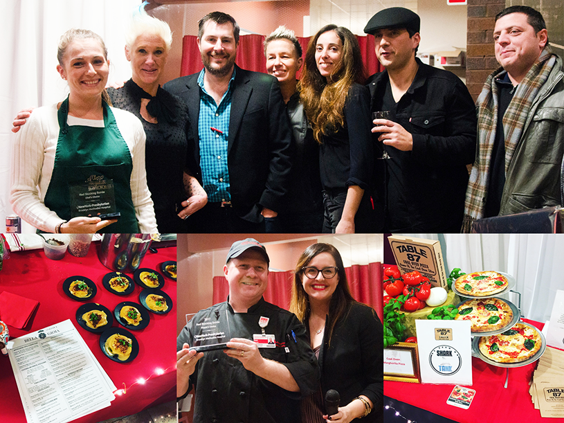 Red Stocking 2017 Photo Collage. Image shows award winners holding their awards with the celebrity chefs.