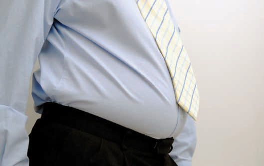 close up of a man's sizable gut