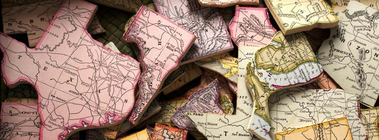 puzzle pieces of maps on them