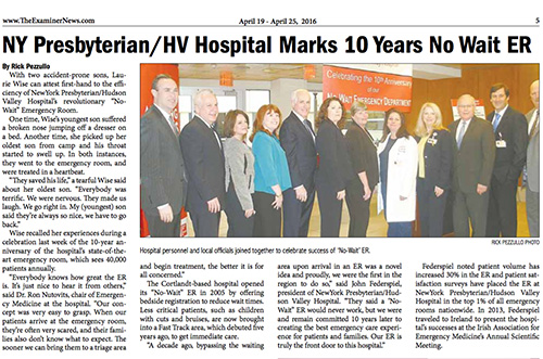 NY Presbyterian/HV Hospital Marks 10 Years No Wait ER (Northern Westchester Examiner)