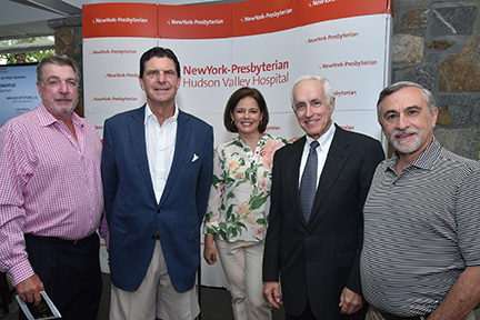 John Hamilton, Host and Member Sponsor, Hudson National Golf Club; Presenting Sponsor Bernard F. Curry III, Chief Executive Officer and owner of Curry Automotive; NewYork-Presbyterian/Hudson Valley Hospital President Stacey Petrower; Former NYP/Hudson Valley Hospital President John Federspiel; and Bruce J. Lindenbaum, Chairman of the 2016 Golf Tournament Committee.