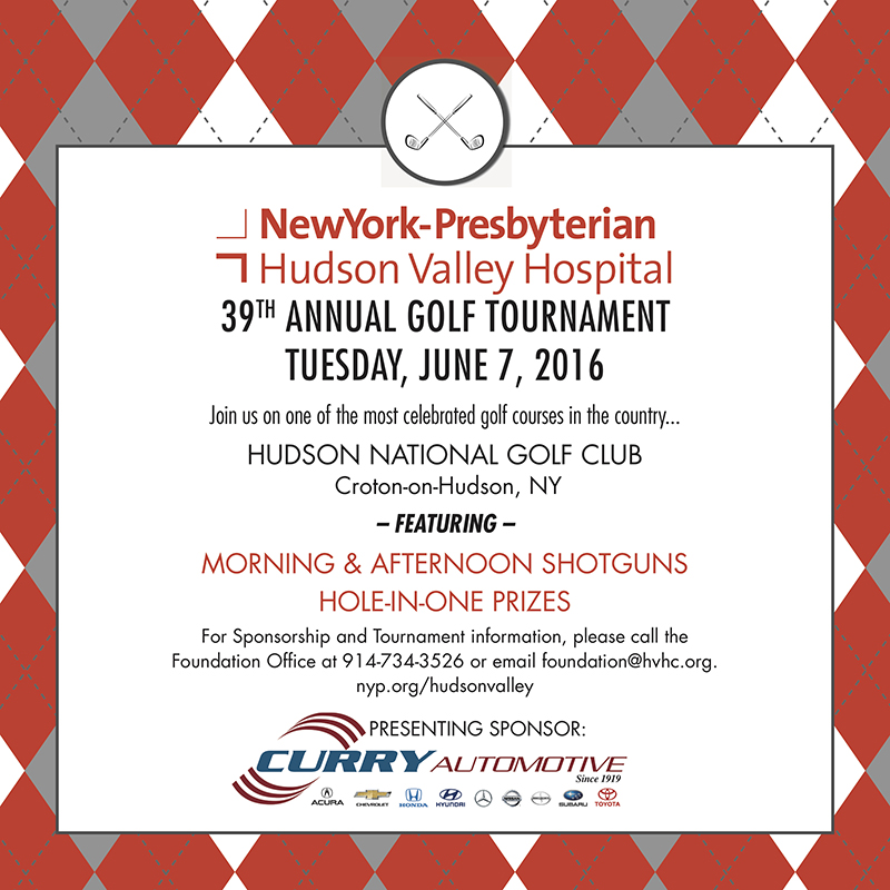 Tickets Available Now For 39th Annual Newyork-Presbyterian/Hudson Valley Hospital Golf Outing Fundraiser On June 7