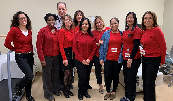 Cardiology staff & providers for Heart Awareness Day wear red