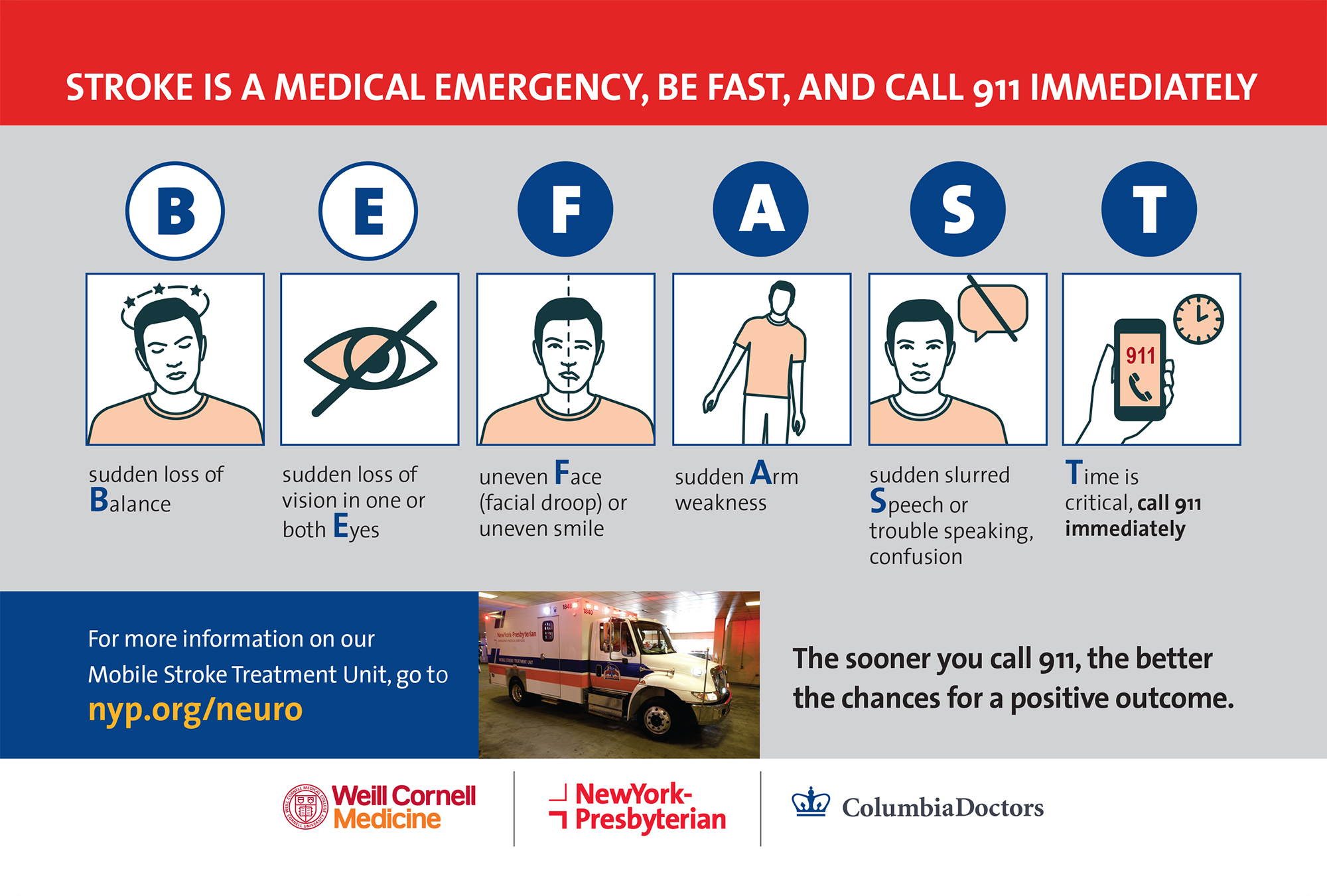 Stroke is a medical emergency, BE FAST, and call 9-1-1 immediately.