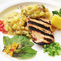 Grilled Salmon with Warm Mint Pineapple Salsa