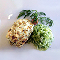 Baked Halibut Sitka with Dill and Cucumber Salad