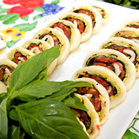 Mozzarella Roulade with Arugula Salad