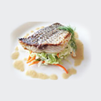 Pan Seared Striped Bass With Asian Dill Slaw