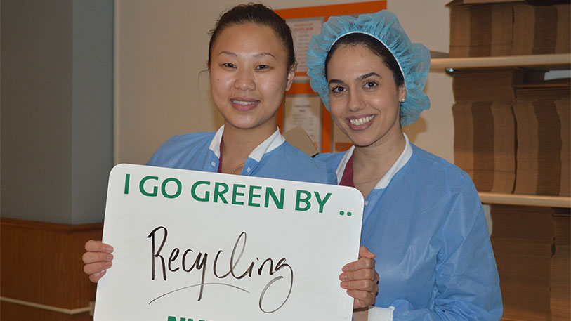 NYP employees go green by recycling.