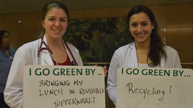 NYP employees go green by bringing lunch in reusable tupperware and recycling.