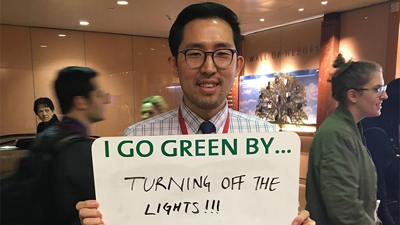 NYP employee goes green by turning off the lights.