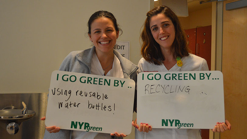 NYP employees go green by using reusable water bottles and recycling.