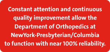 Department of Orthopedics functions at 100% reliability