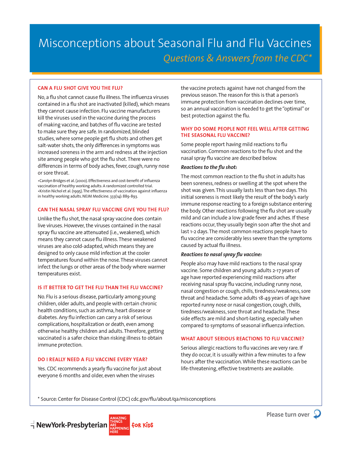 Misconceptions about Seasonal Flu and Flu Vaccines: Questions & Answers from the CDC*