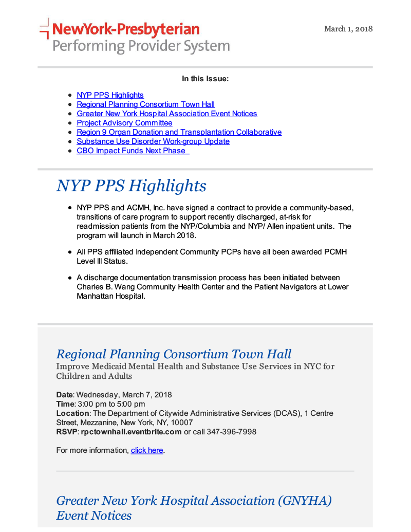 Most recent newsletter front page