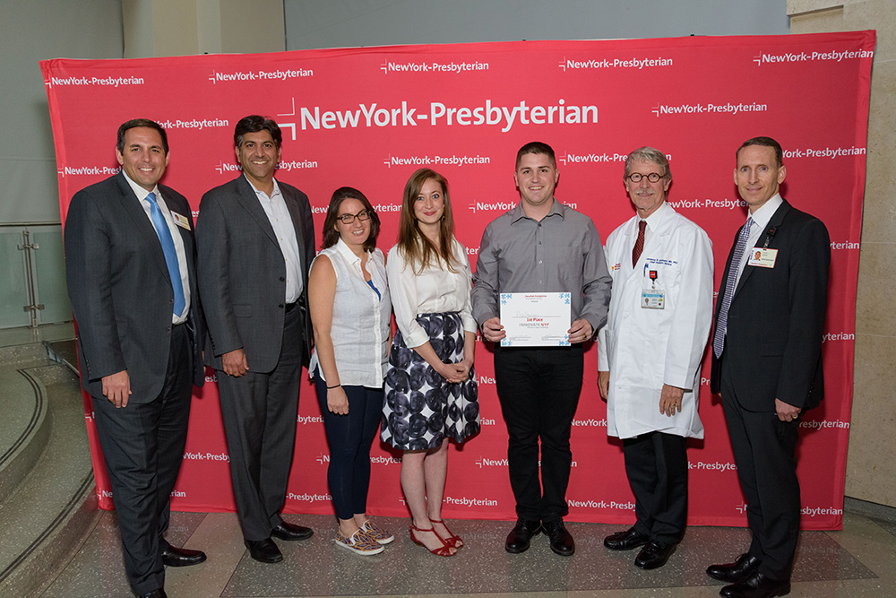 NewYork-Presbyterian InnovateNYP Pediatric App Challenge winner Riley McKenna poses with the judging panel.