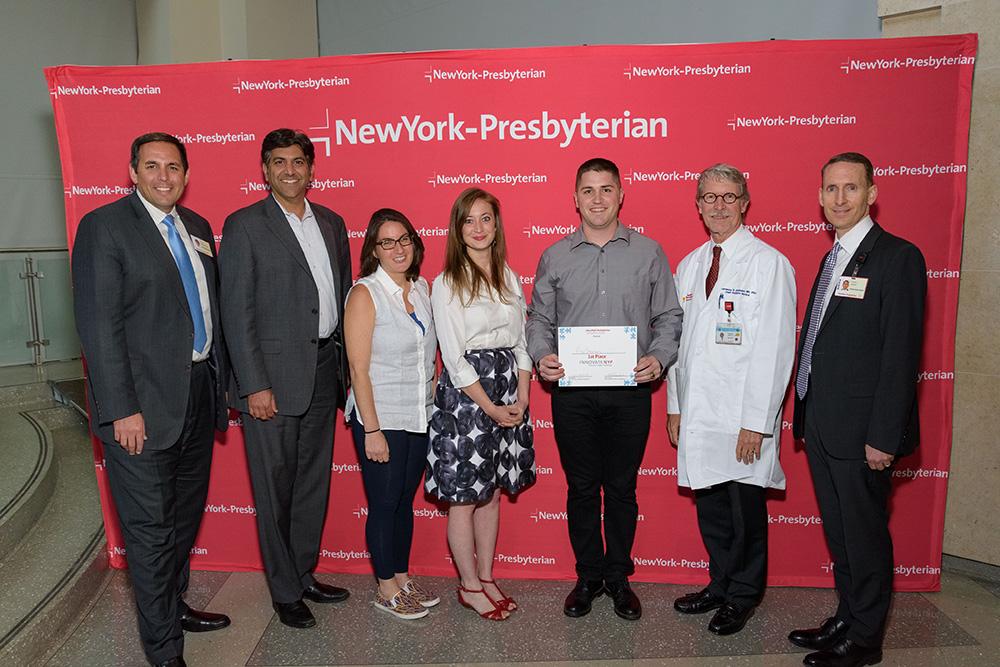 NewYork-Presbyterian InnovateNYP Pediatric App Challenge winner Riley McKenna poses with the judging panel.
