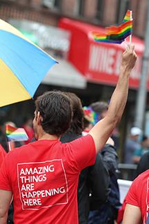 NewYork-Presbyterian Queens employee at the Queens Pride parade