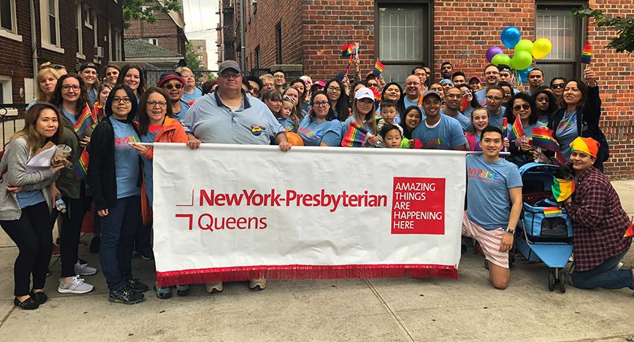 NewYork-Presbyterian Queens staff at the 2018 Queens Pride parade