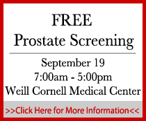 free prostate cancer screening on September 19 at Weill Cornell Medical Center