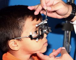 Young boy has eye exam