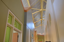 ceiling of Center for Autism and the Developing Brain with exposed beams