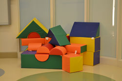 play blocks at the Center for Autism and the Developing Brain