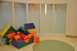 A room with play blocks at the Center for Autism and the Developing Brain