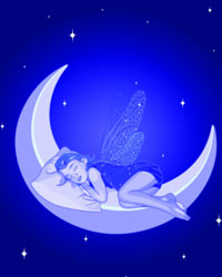 Illustration, fairy sleeping on a moonbeam