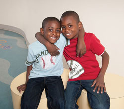 Malik, who received a bone marrow transplant at New York Presbyterian, with his brother Michael, the donor