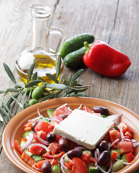 Greek salad with olive oil