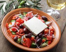 Greek salad with wine