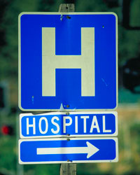 Road sign for a hospital