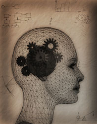 Illustration of human head with gears to represent brain working
