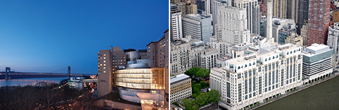 aerial views of New York Presbyterian/Columbia University Medical Center and New York Presbyterian Weill Cornell Medical Center
